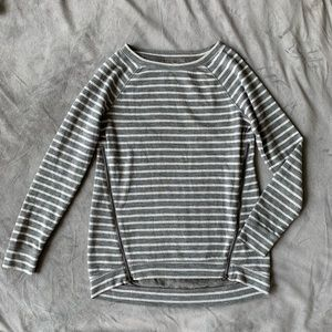 Lou & Grey gray and white striped pullover sweater